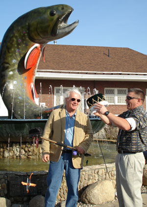 Michael Delp (left) about to be crowned Trout King