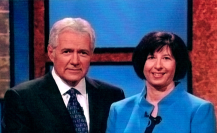 Jeopardy! host Alex Trebek and Onekama contestant Rosalind Jaffe.