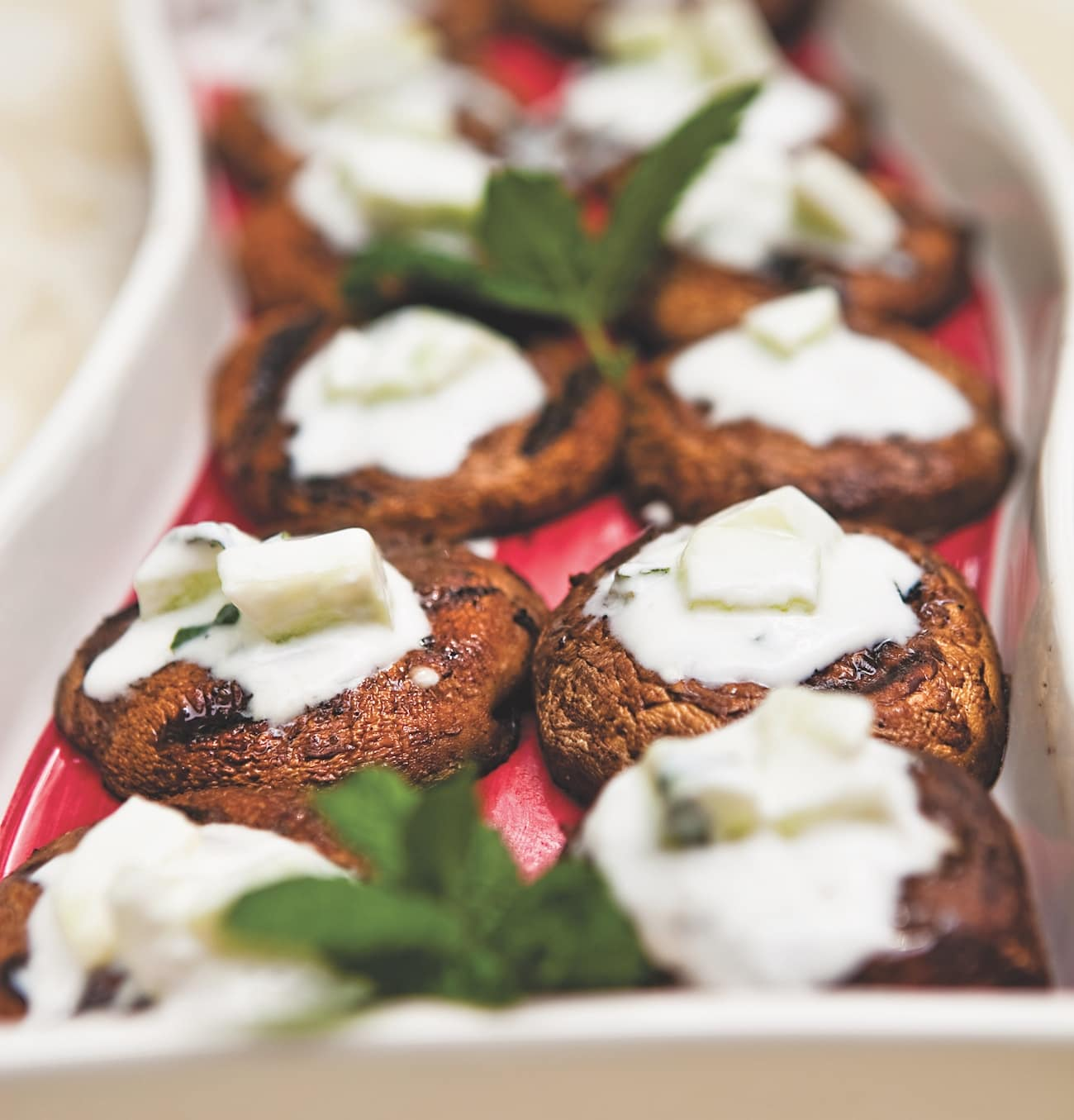 moroccan spiced portobello burgers with cucumber raita. Black Bedroom Furniture Sets. Home Design Ideas