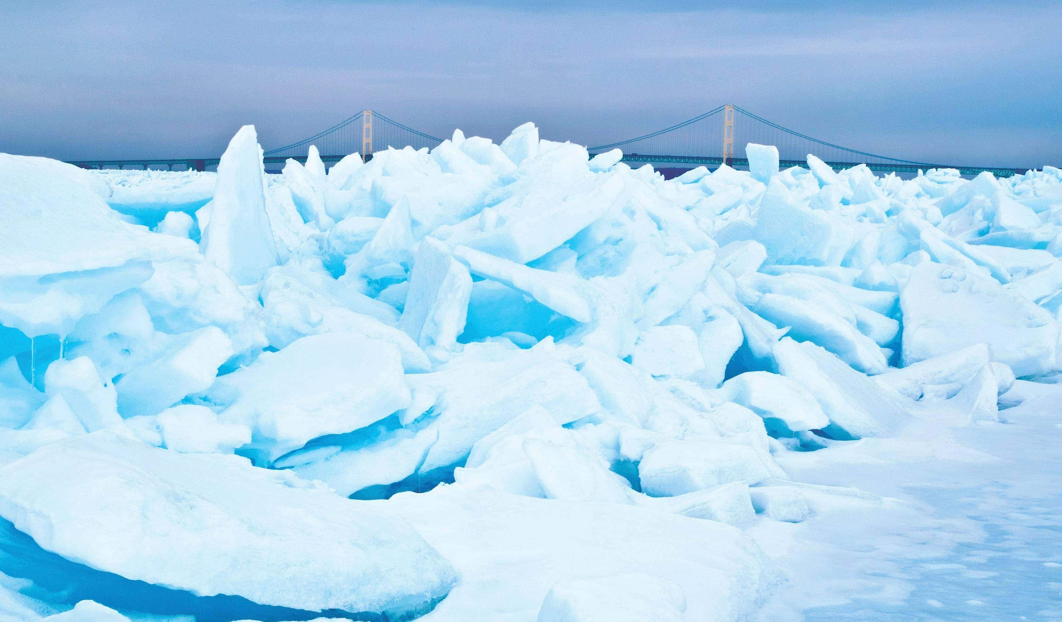 mackinac bridge and ice