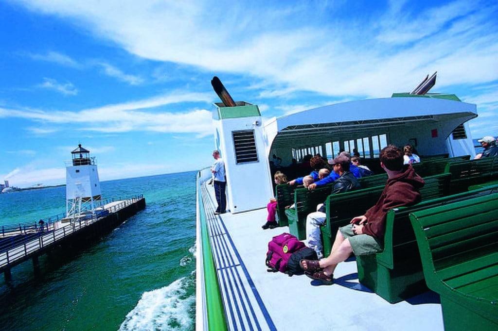 Beaver Island ferry leaving Charlevoix.