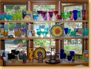 Glassware from Ruth Conklin in Glen Arbor in the Sun