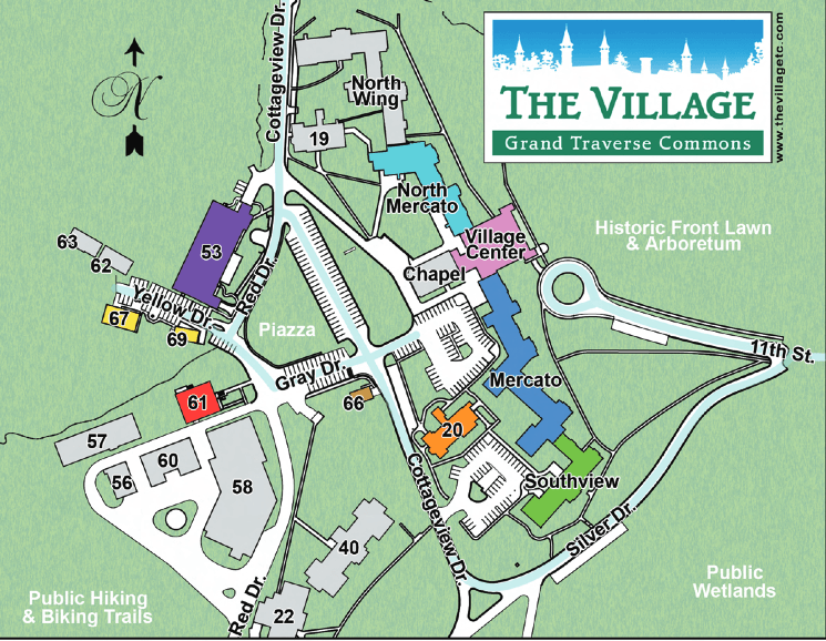 Map provided by The Village at Grand Traverse Commons