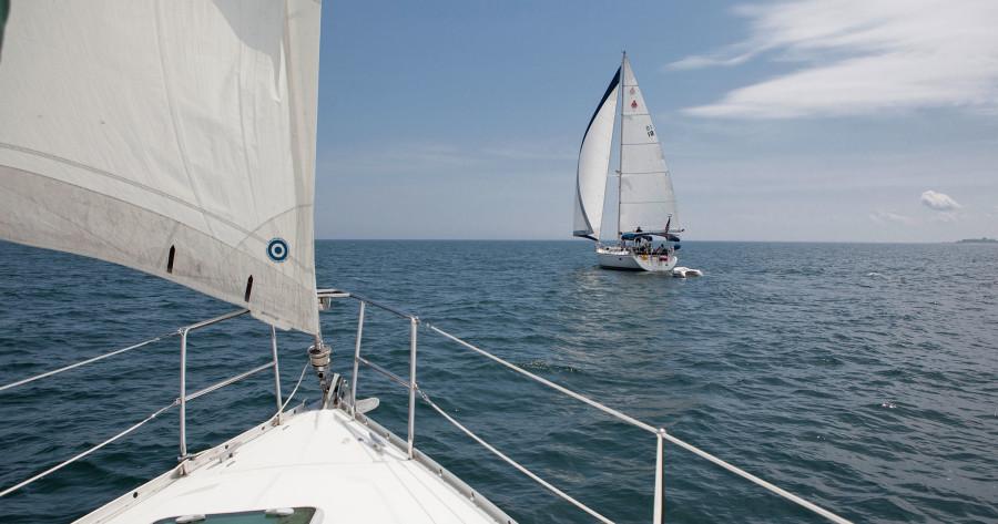 Northern Michigan sailing to Mackinac Island