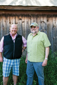 Mario Batali with Larry Mawby, vintner and Chairman of the Leelanau Conservancy's Board of Directors.