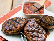 Pork chops with Cherry Barbeque Sauce