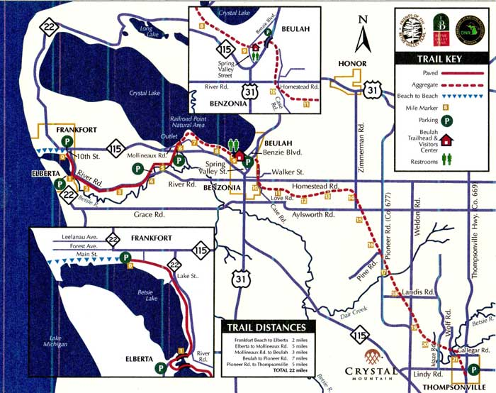 Betsie Valley Trail Map, courtesy of BetsieValleyTrail.org