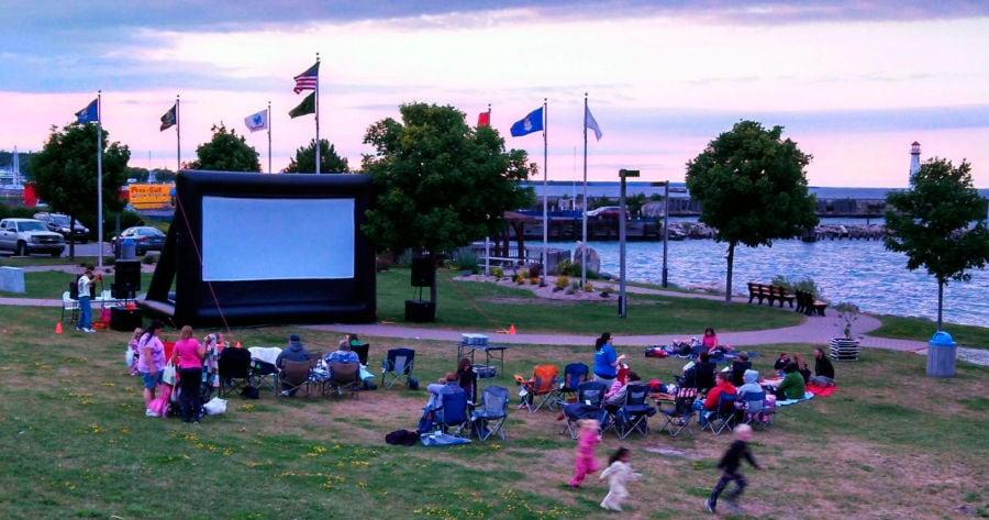 Movie-goers set up in St. Ignace. Photo courtesy of St. Ignace Visitors Bureau.
