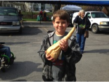 Tyrell holds his parsnip