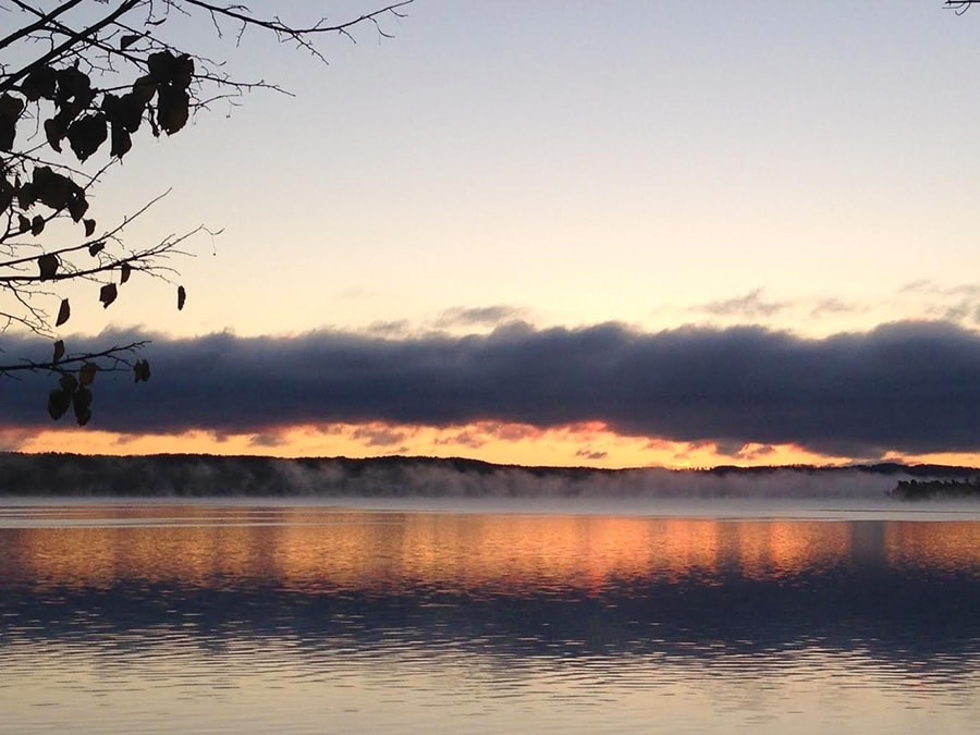 Morning fog on the narrows of lake leelanau for Lake leelanau fishing
