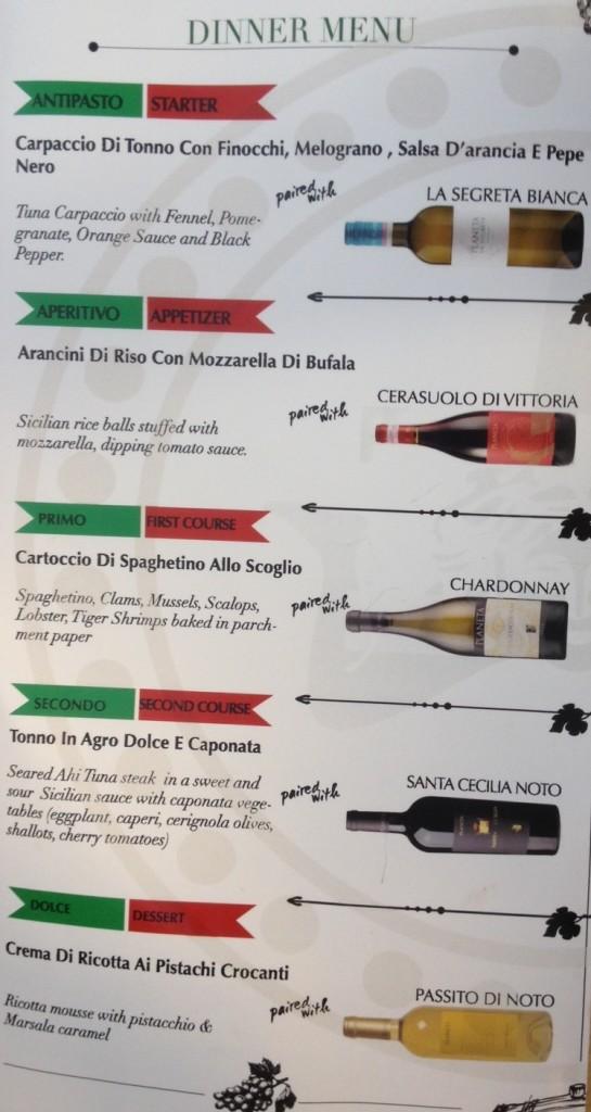 Pepenero Sicilian Wine Dinner Menu