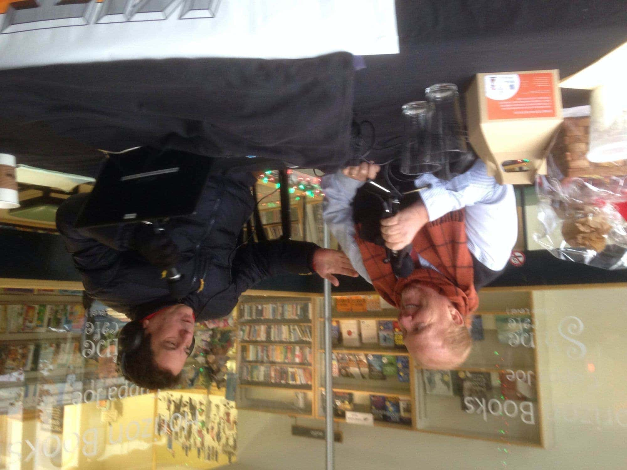 Mario Batali with Omelette at Horizon Books, Traverse City