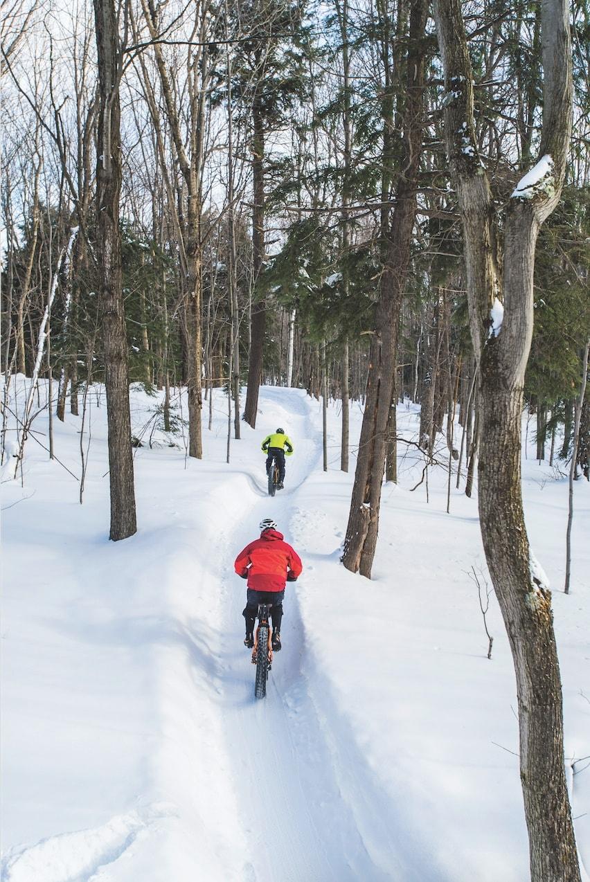 winter fat tire biking northern michigan