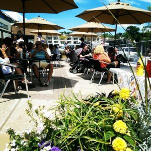 The beer garden at Lake Charlevoix Brewing.