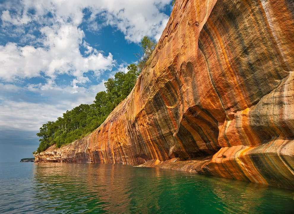 Mineral seeps on sandstone cliffs between Miners and Mosquito Beaches, Pictured Rocks National Lakeshore, Michigan. © Craig Blacklock, from the book, Pictured Rocks
