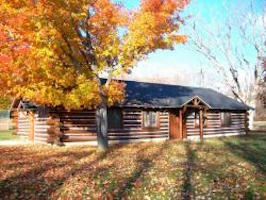 Whiting Park – Log Cabin on an Autumn Day
