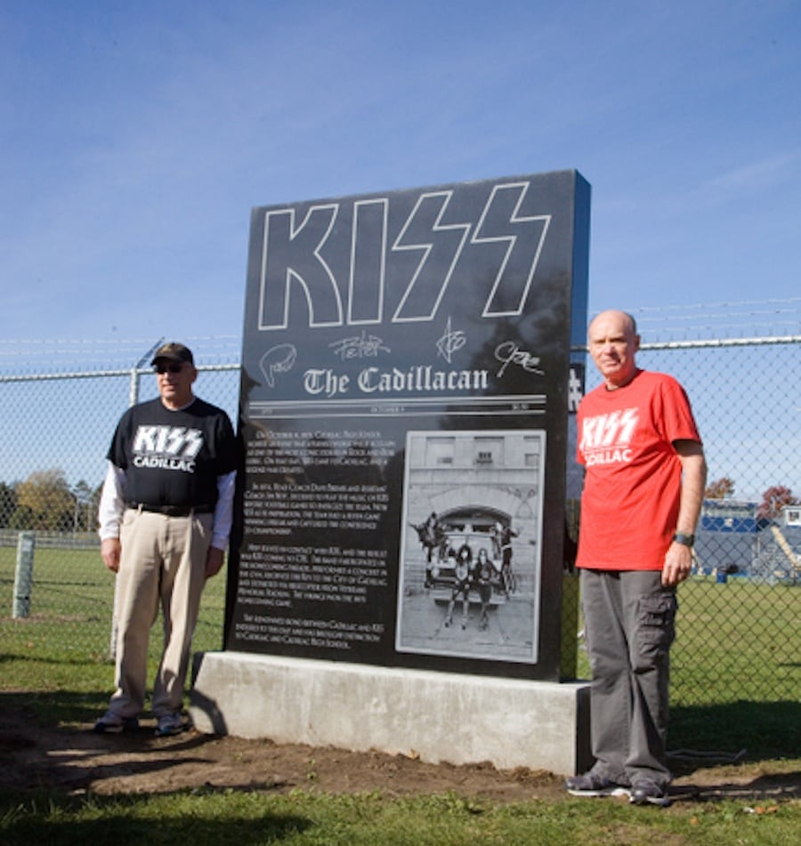 Coaches Dave Brines (left) and Jim Neff (right) at the KISS Monument in 2015.