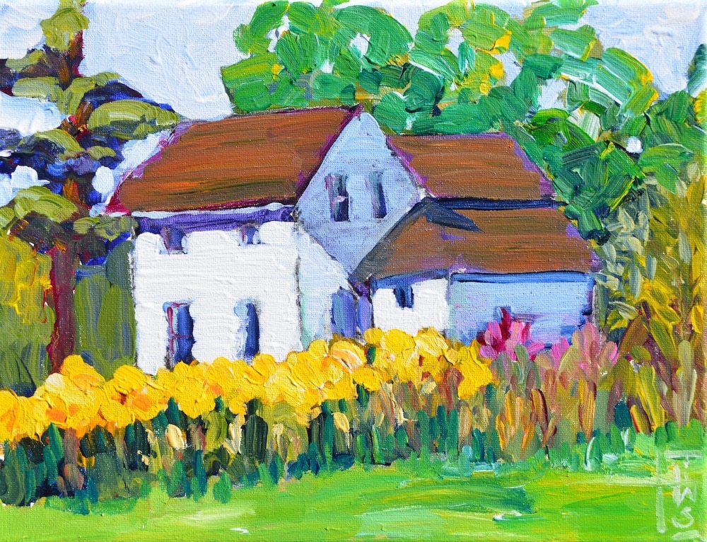 Painting of Kelderhouse Farm by Lisa Wilkins Schulte.