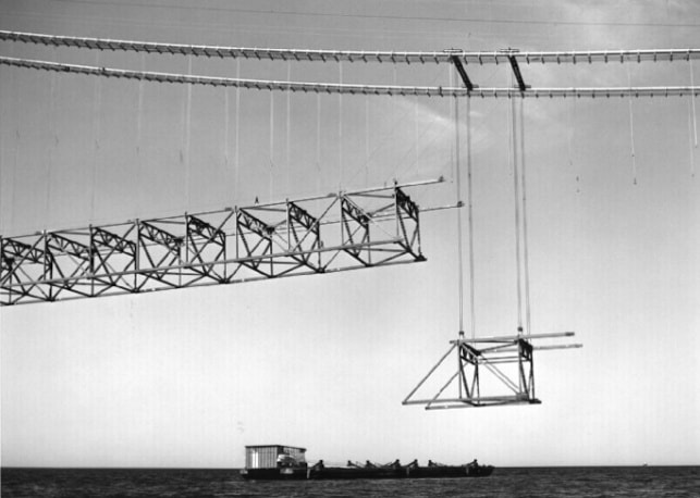 Lifting a suspended span stiffening truss unit from a barge to its center span position.