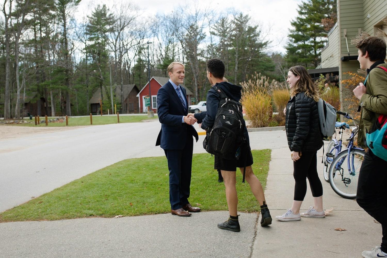 Trey Devey with Interlochen Students