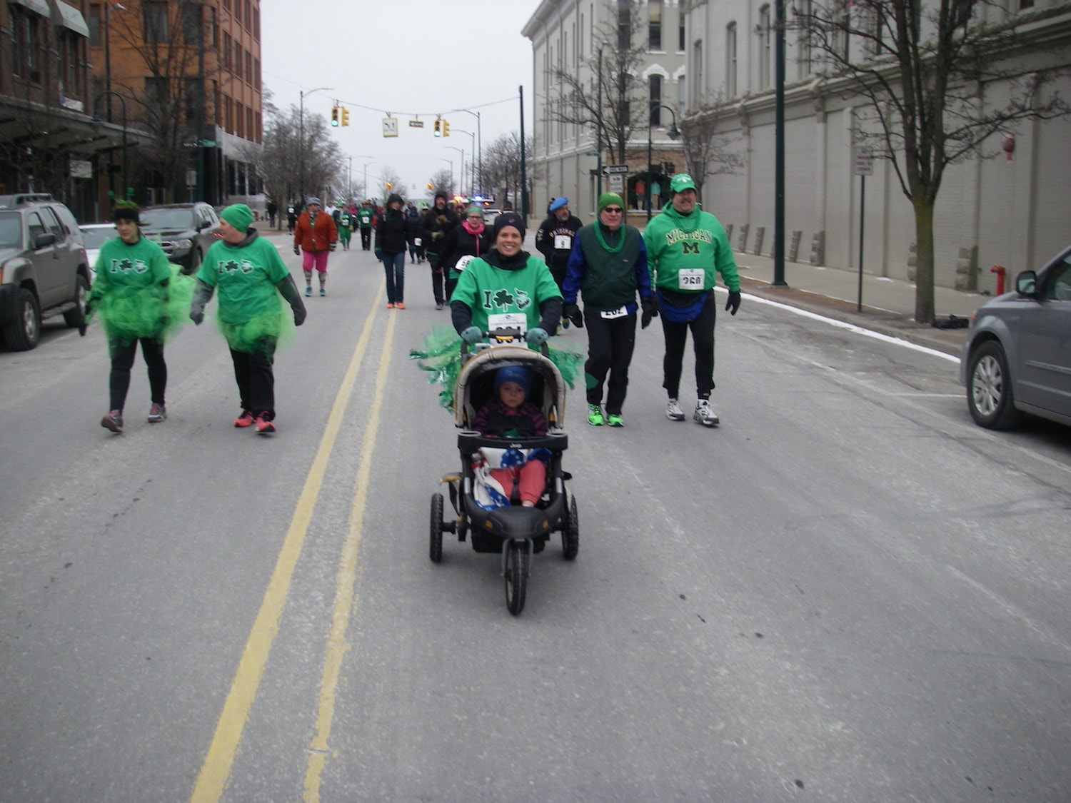 Jessica Stark, 33, and daughter Ally, 4, take on the challenge of the Leapin' Leprechaun Race.