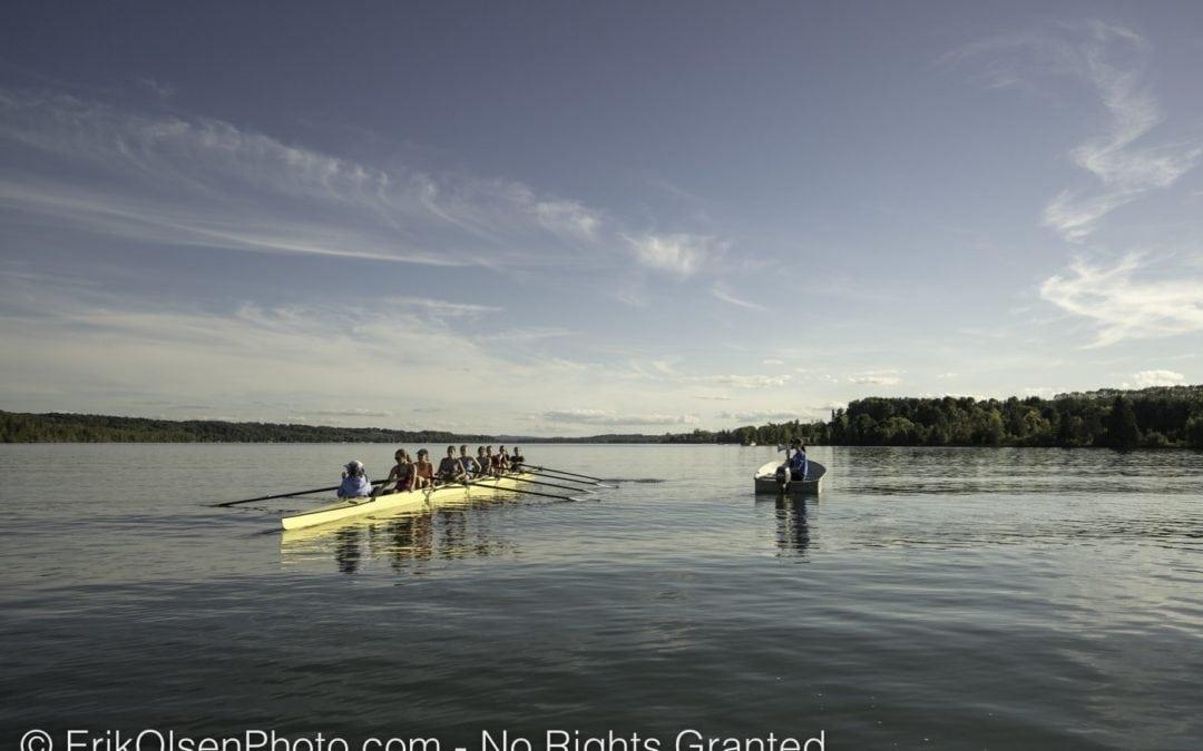 Rowing practice at Fountain Point Lake Leelanau Rowing Club
