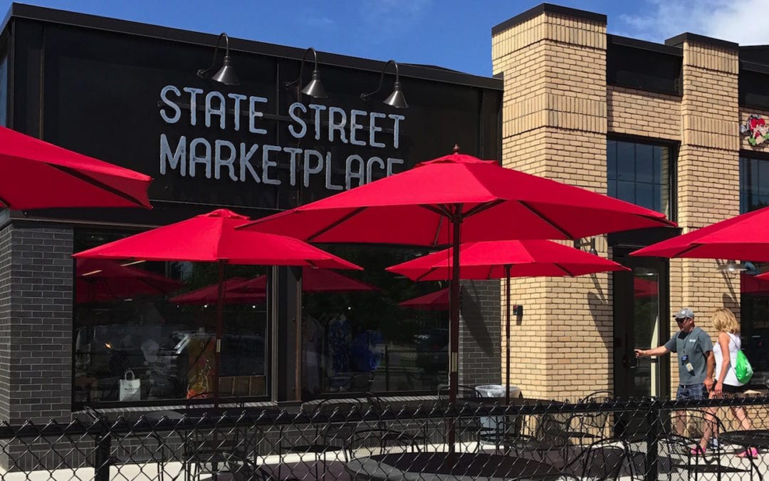 Inside the State Street Marketplace and Monkey Fist Brewing Co.