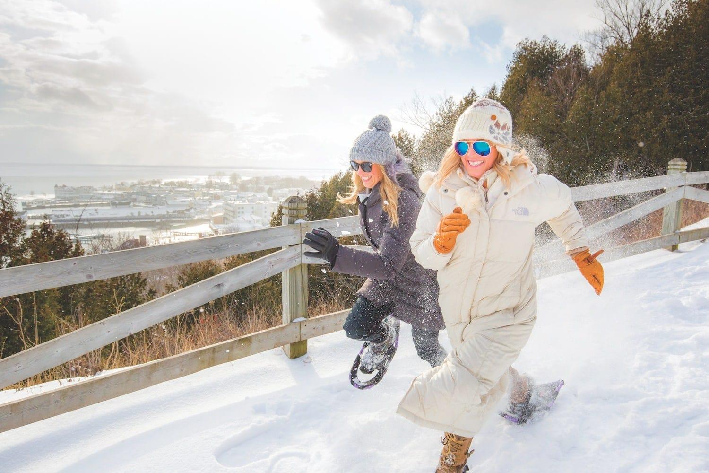 Snowshoeing Mackinac Island