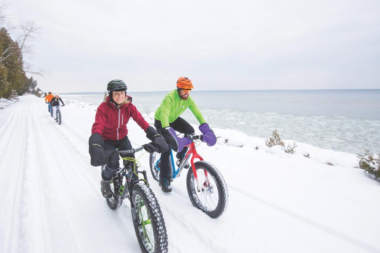 Biking Mackinac Island winter