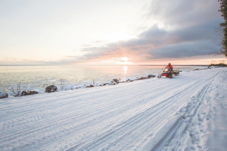 Snowmobiling on Mackinac Island