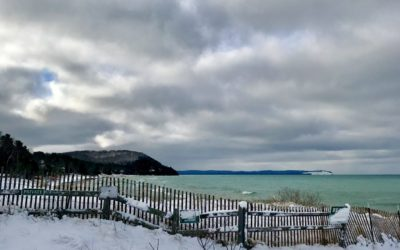 Snow Covered Fence by Crystal Blue Michigan Lake