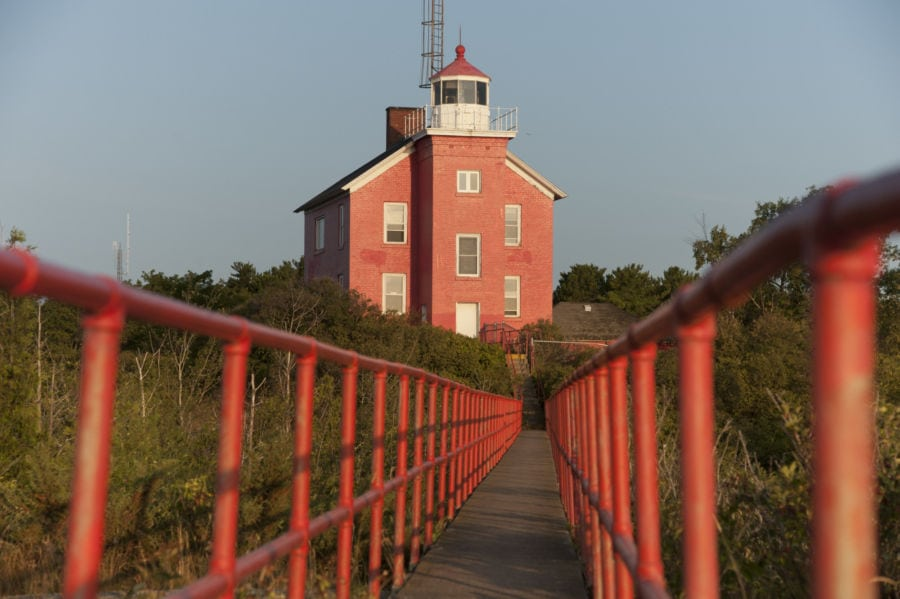 The Marquette Lighthouse on Lake Superior in Marquette, Michigan.