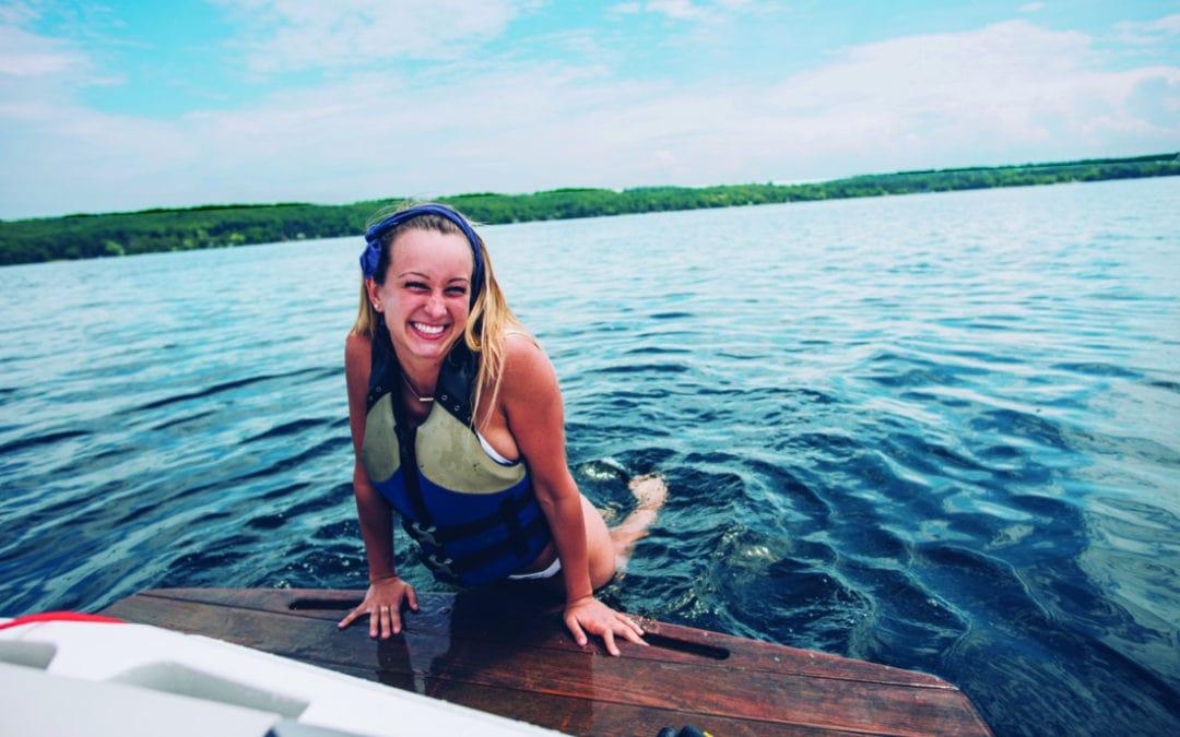 boat, boating, inland lake, wakeboard