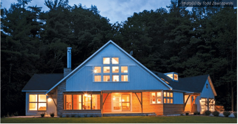 crystal lake home, modern rustic