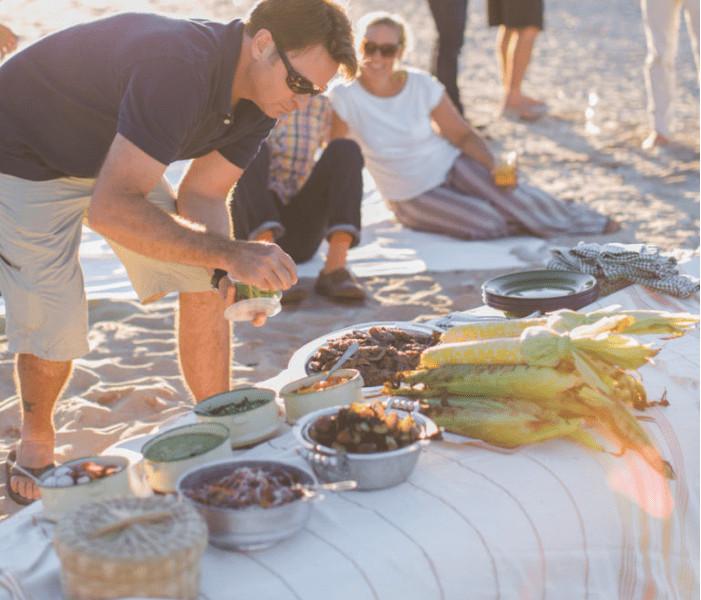 beach dinner cookout, epicurean