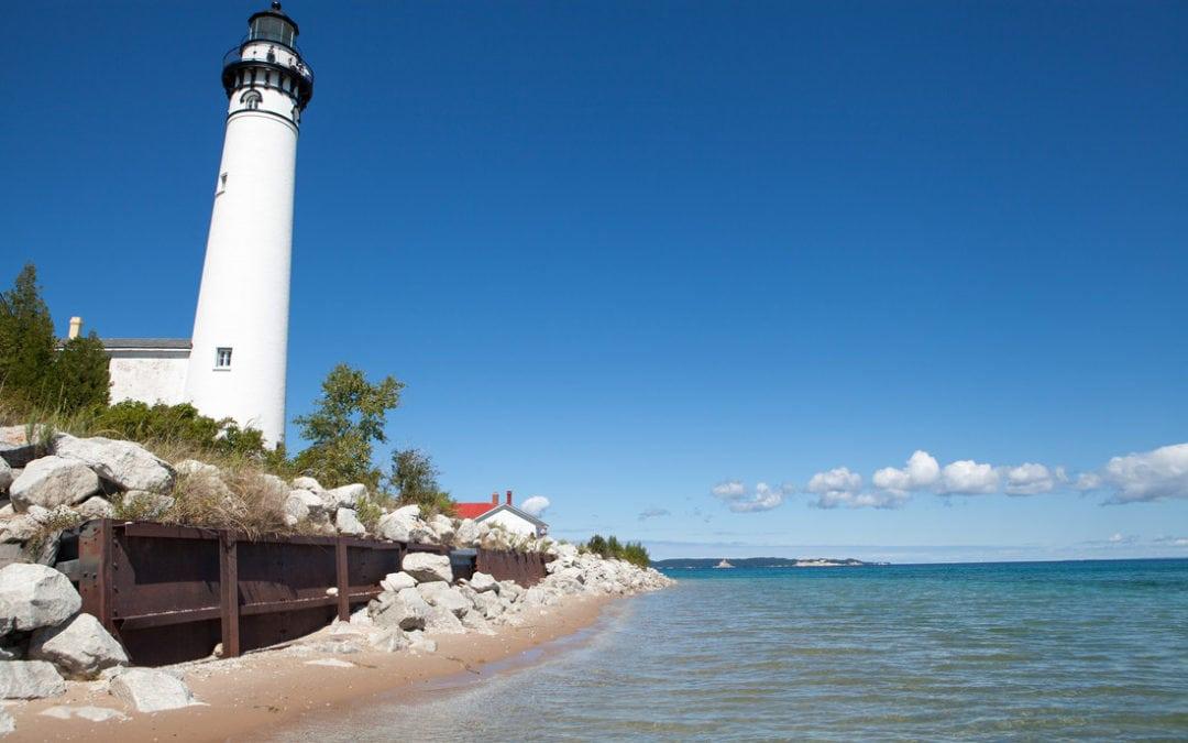 south manitou lighthouse, beach