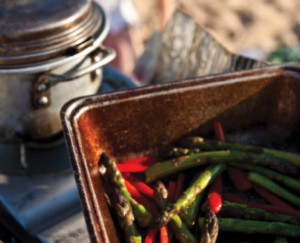 outdoor cooking, asparagus, cooking on the fire, beach meal