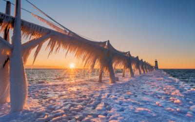 Manistee Lighthouse Shines in Frozen Winter Splendor