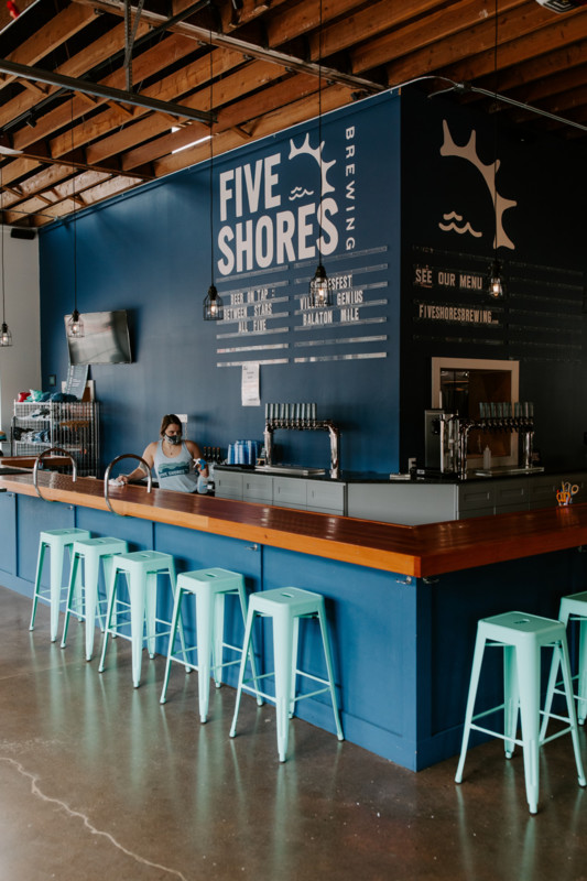 The bar at Five Shores Brewing in Benzie County