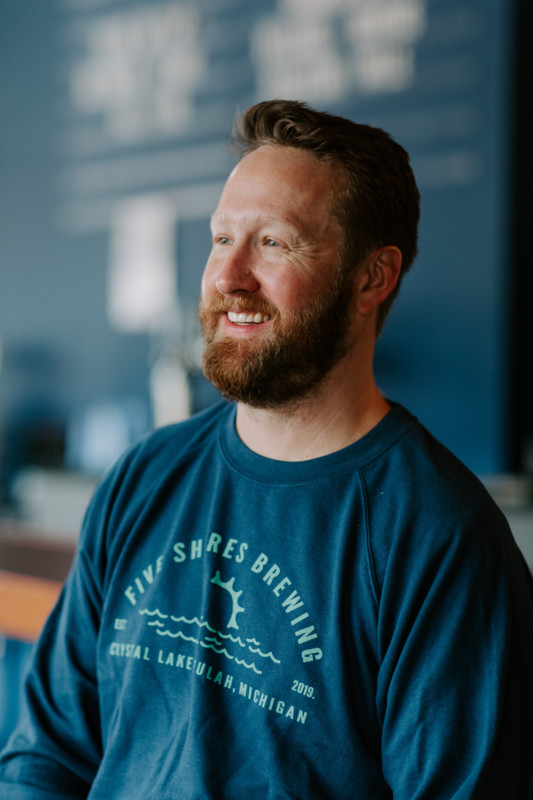 Close up of Five Shores Brewing brewmaster Oliver Roberts