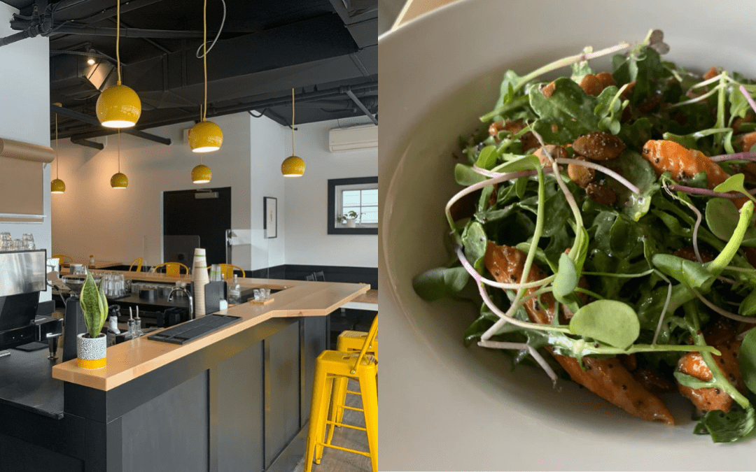 Image of Benedict TC on the left and a salad from the restaurant on the right.