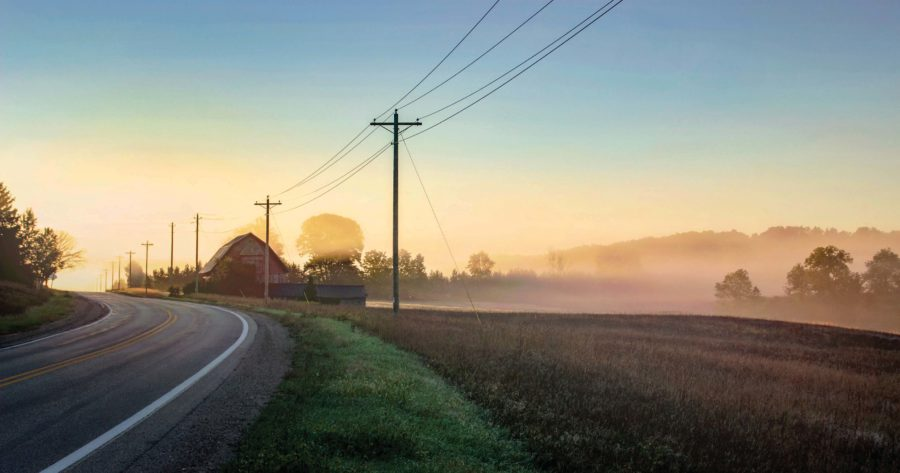 Image of a farm in the morning on the Breezeway scav