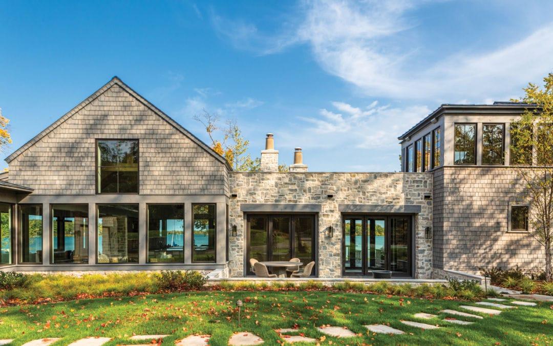 Stone cottage on Elk Lake in Michigan.
