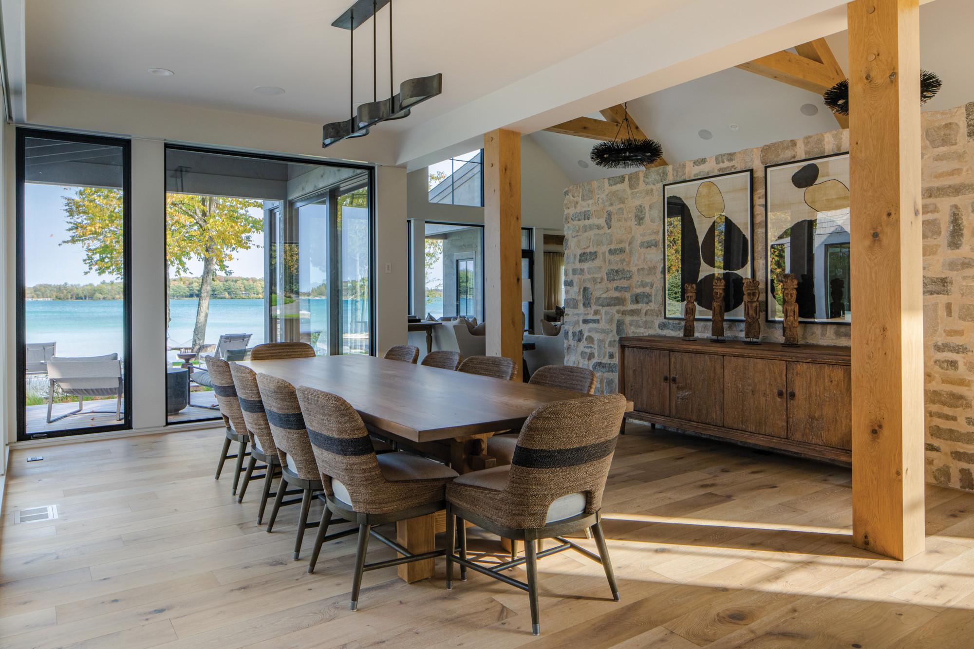 Inside of dining room overlooking Elk Lake.