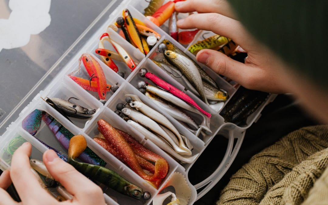 Tacklebox open with many lures and baits.