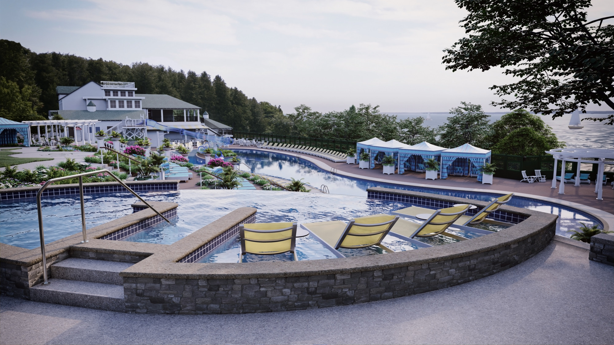Image of the new pool area at Grand Hotel in Mackinac Island.
