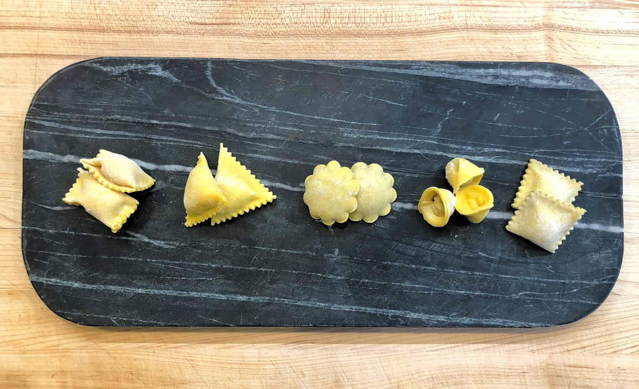 Different types of ravioli from Forrest, A Food Studio on a platter.