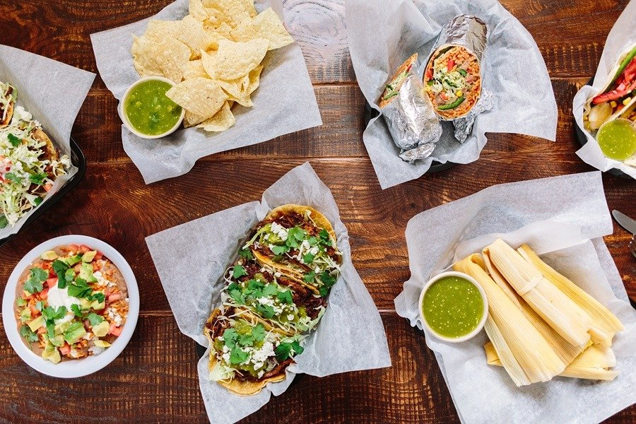 The whole spread of delicious Mexican food from Spanglish.