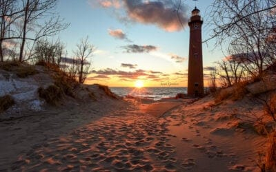 Gorgeous Spring Sunset at Little Sable Point Lighthouse
