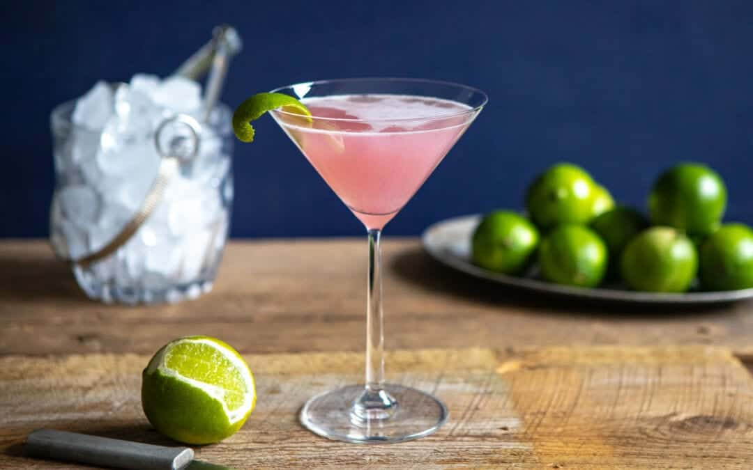 Photo of a rhubarb gimlet made by Stacey Brugeman.